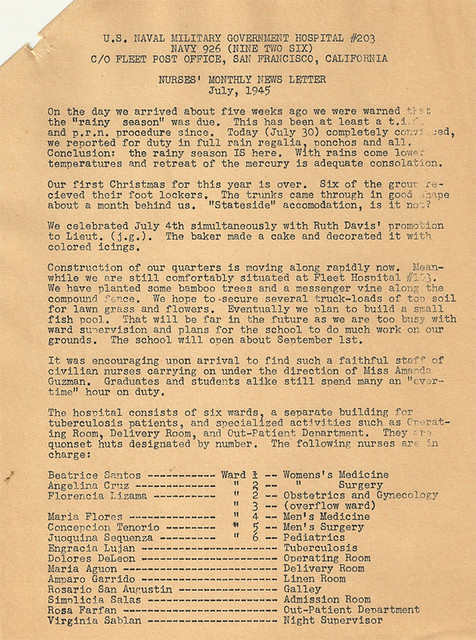 Nurses Monthly Newsletter, July 1945