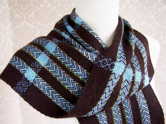Chocolate Brown Cashmere And Blue Stripes With Brown Cashm