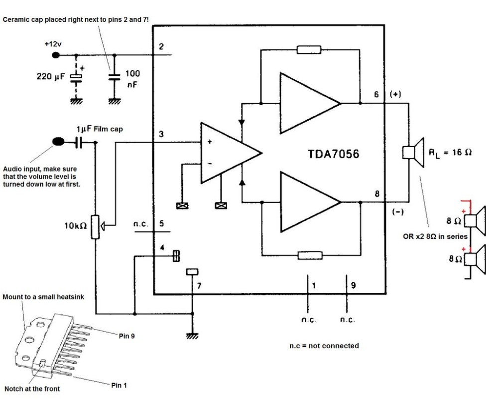 medium resolution of tda7056 audio amplifier circuit