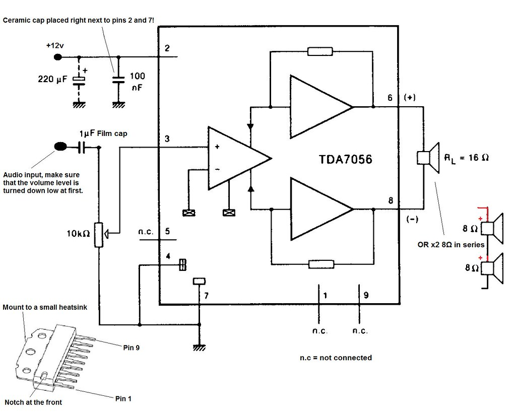 hight resolution of tda7056 audio amplifier circuit