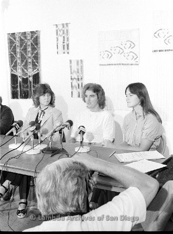 P123.029m.r.t Dixon Press Conference 1982:  (Left to Right) Close-up of Fran Ledford, Chris Russell and Eileen  Bingle.