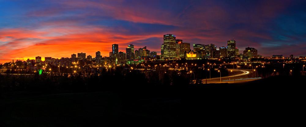Edmonton Skyline Sunset Panorama Photograph Taken Of The