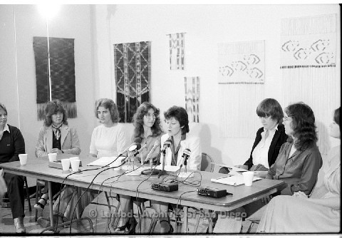 P123.002m.r.t Dixon Press Conference 1982:  (Left to Right) Robin Bruce, Fran Ledford, Chris Russell, Kathy Gilberd (MLTF, NLG), Diane Cooper (NOW/SD), Susan McGreivy (ACLU), Kim McAlister (CWSS), Eileen Bingle.