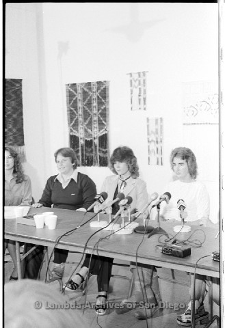 P123.025m.r.t Dixon Press Conference 1982:  (Left to Right) Kathy Gilberd (MLTF, NLG), Robin Bruce, Fran Ledford, and Chris Russell