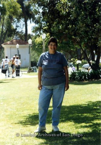 P024.440m.r.t 1990 San Diego Pride Parade: Nancy Gordon taking a picture