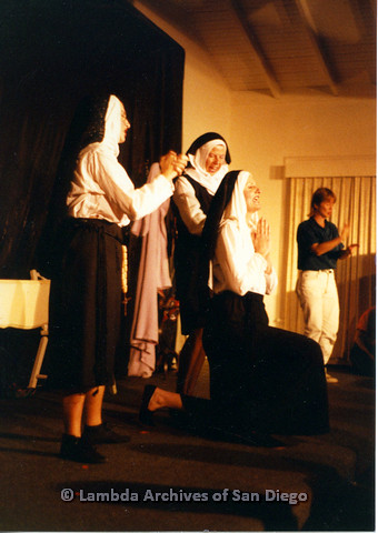 P024.163m.r.t Beautiful Lesbian Thespian performers wearing nun habits on stage