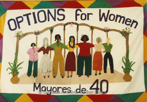 "P024.361m.r.t Cloth artwork featuring women and the text, ""OPTIONS fro Women Mayores de 40"""