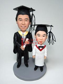 畢業歷程Q版人像公仔   呵呵,圖片兩位主角是同一人,一個是幼稚園畢業,一個是成年畢業,看著你成長,看 ...