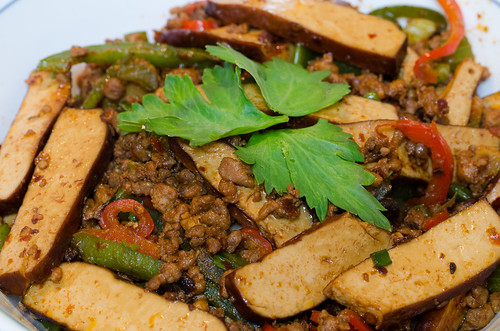 Stir-fried bean curd with diced pork and pepper and celery…   Flickr