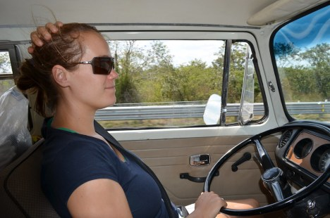 Diana driving towards Campeche