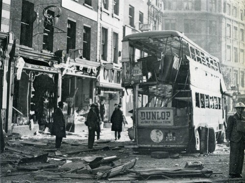 High Holborn at Chancery lane station, WW2 bomb damage, 8th October 1940 (3/4)