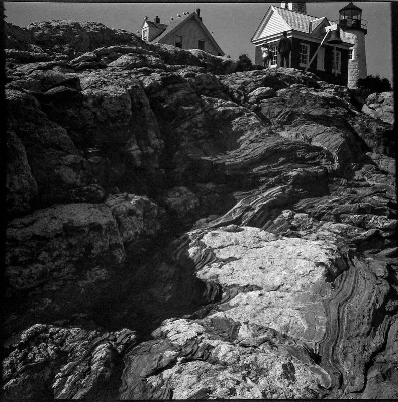 monumental rock formations, lighthouse architecture, Pemaquid Point, Maine, Zeiss Ikonta M, Arista.Edu 200, Ilford Ilfosol 3 developer, 7.19.18