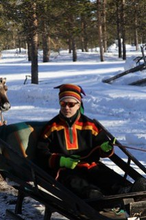 Sami man instructing us at reindeer training