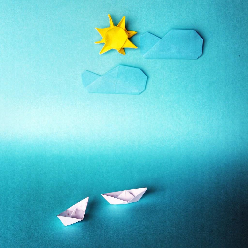origami ship sun cloud