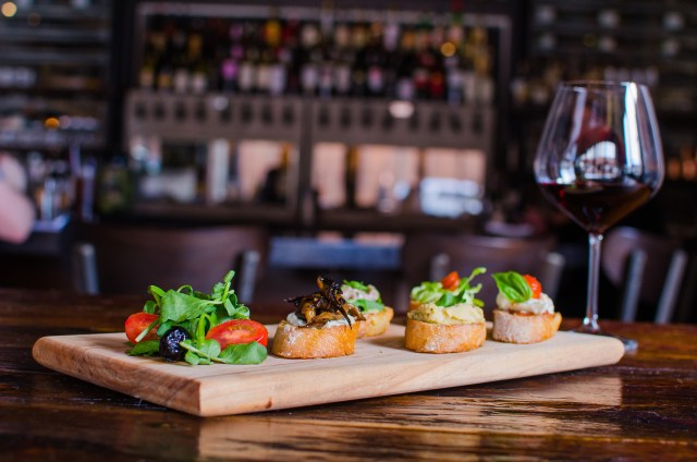 Osteria La Madia Bruschetta and Wine