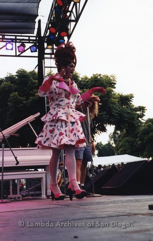 1995 - San Diego LGBT Pride Festival: Female Impersonator Performing On the Entertainment Main Stage.