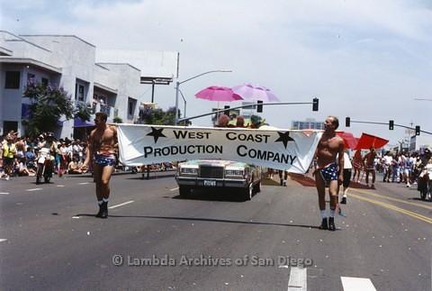 1994 - San Diego LGBT Pride Parade: Contingent - West Coast Production Company Gay Disco Dance Club.