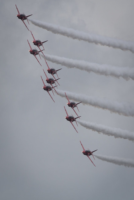 Fairford, Gloucestershire, UK - July 10th, 2016: RAF Display Team the Red Arrows Fairford International Air Tattoo 2017 in their Hawk T1 Jet Trainers