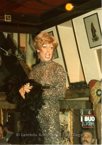 c.1980 - Female Impersonator, Toby Lear at the Gay Men's Levi/Leather Bar 'A Different Drum'.