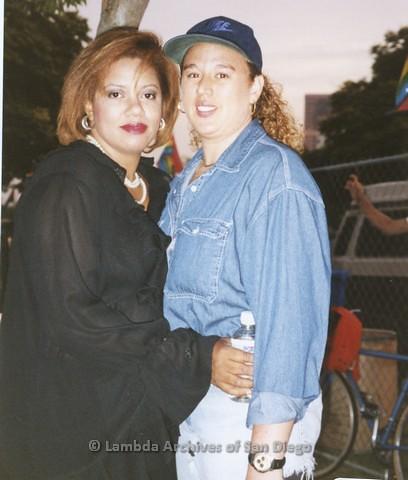 1995 - San Diego LGBT Pride Festival: Lorie Madison (left)