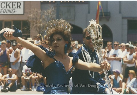 1995 - San Diego LGBT Pride Parade. - San Diego Imperial Court Contingent. 'Ophelia Later' (left).