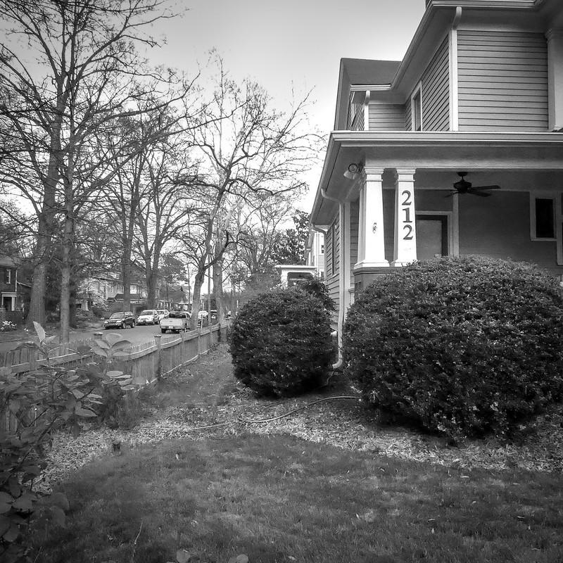 neighborhood, porch colums, sculpted shrubs, Durham, NC, Panasonic Lumix DMC-ZS50, 4.1.18