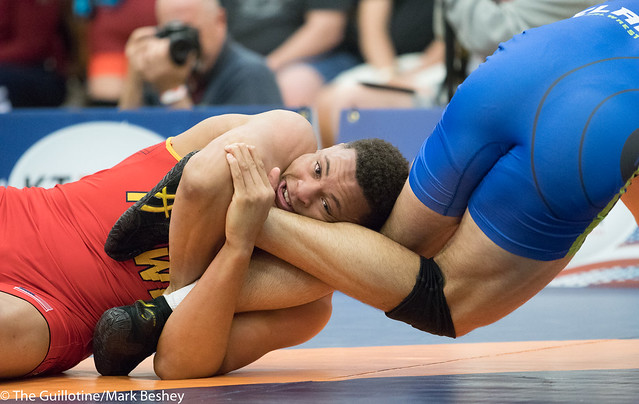 97 kg/213 lbs.- Daniel Kerkvliet (Pinnacle) vs. Zach Elam (Team Central WC).  - 180519amk0190