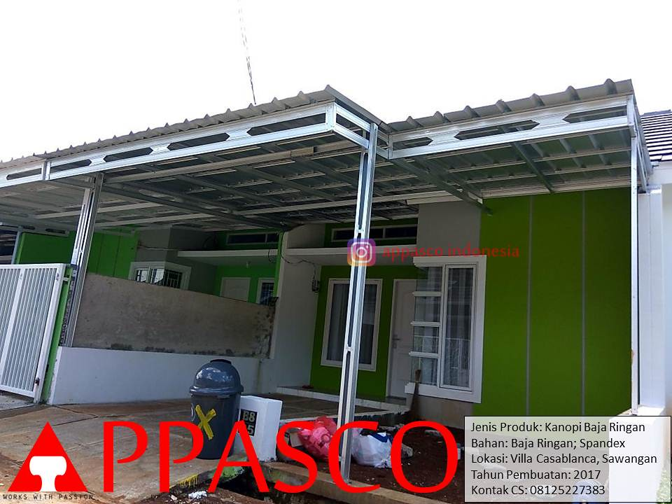jenis produk baja ringan kanopi minimalis modern bajaringan spandek di villa casablanca