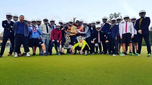 Letztes Training vor dem ersten Spiel! Motto: Business. Die Coaches hatten ein anderes Motto 😊 #berlinbullets #training #schickgemacht #hemdundkrawatte #freitagstraining #americanfootball #gameweek #homefield #gobullets