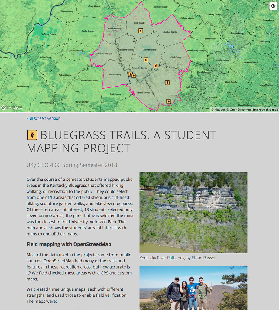 Bluegrass trails, a student mapping project