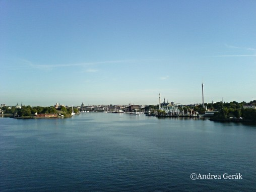 Skeppsholmen Island on the left and Djurgarden with the famous amusement park Grona Lund, to the right