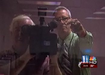Deep reflection:  The blogger with WXIA photog Richard Crabbe