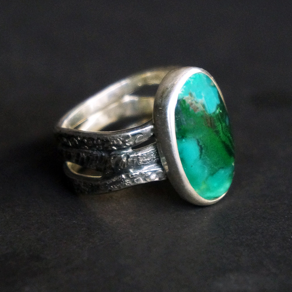 Chrysocolla Gem Silica ring sterling and fine silver setting choose your size