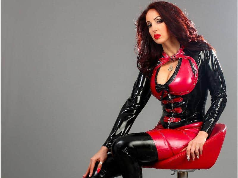 busty girl in rubber catsuit