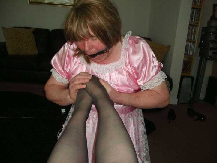 sissy maid humiliation, sissy maid foot worship, sissy maid wearing ball gag