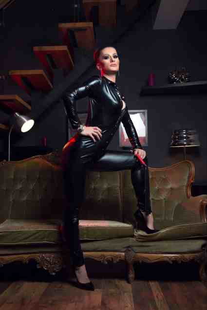 girl wearing leather catsuit