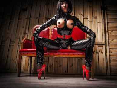 latex femdom, mistress wearing fetish clothes,