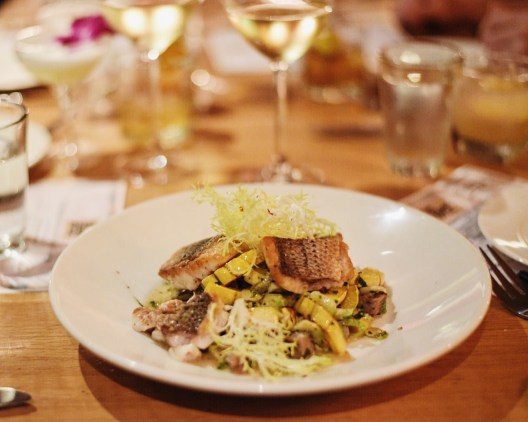 The star of this Fresh Catch dish is the perfectly cooked delicate squash, brussel sprout hash, and housemate sausage. I'd eat an entire dish of just the squash. For serious.