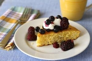 cornbread, berries & yogurt