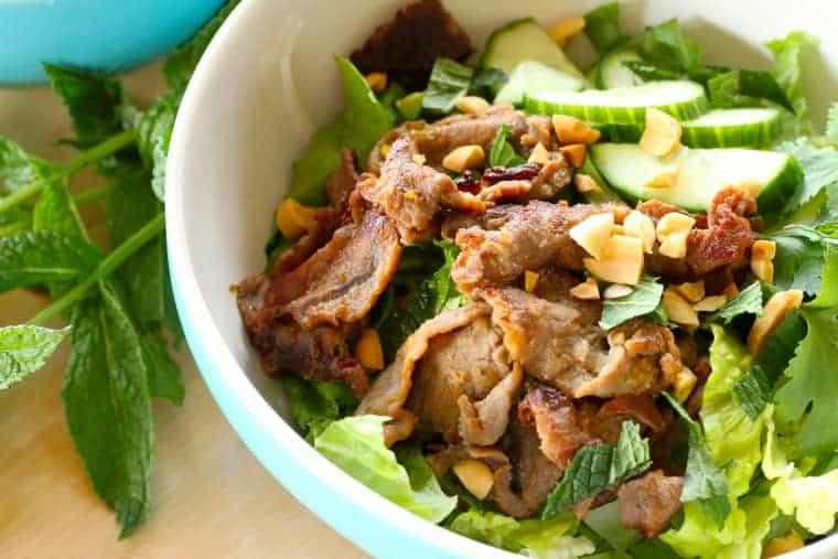 Vietnamese beef noodle bowl