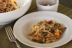 spicy vegetable pasta bowl