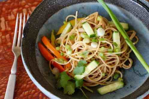 Peanut Sesame Noodle Bowl | Use leftover pasta to create a refreshing delish salad. www.LiveBest.info