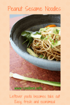 Peanut Sesame Noodle Bowl Recipe | Use leftover pasta to create a refreshing delish vegetarian salad. Real food naturally. www.LiveBest.info