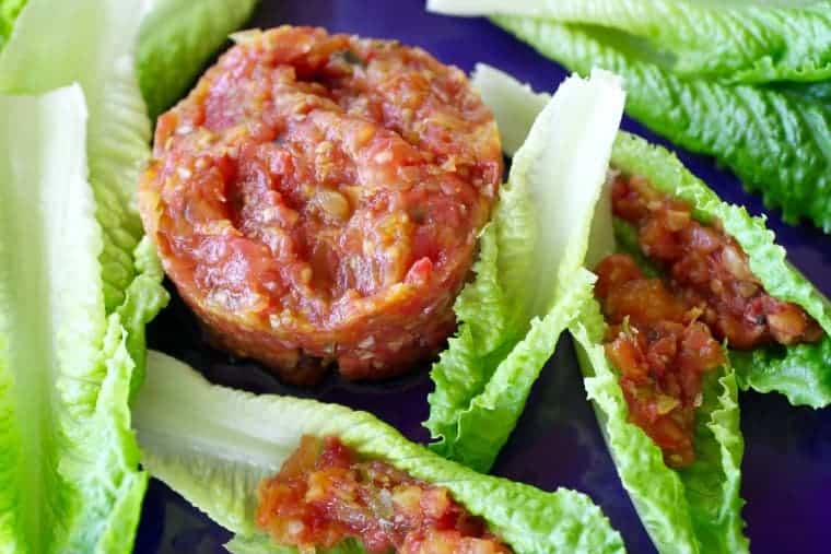 Tomato Tartare | Summery tomatoes in a delightful vegetarian appetizer. Real food naturally. www.LiveBest.info