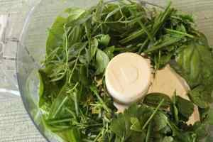 herbs in food processor