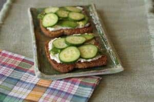 cucumber ricotta toast