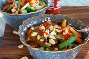 two peanut asian rice bowls