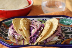 Fish tacos, pickled onions and chipotle crema | Taco Tuesday, Wednesday, Friday, these are soooo good anytime!