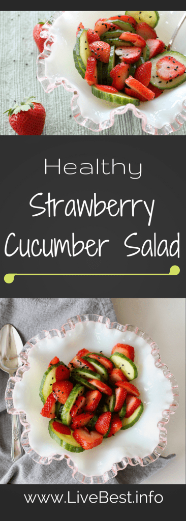 Strawberry Cucumber Salad | An easy, quick, refreshing salad recipe. A sprinkle of sesame seeds take this salad from simple to superb! www.LiveBest.info