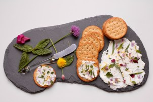 Herb and flowers on yogurt